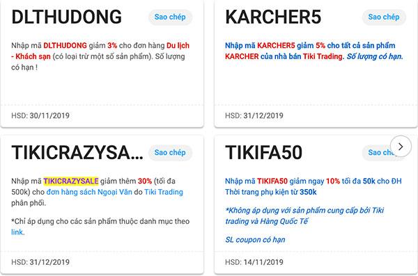 Các loại mã giảm giá có trên Tiki