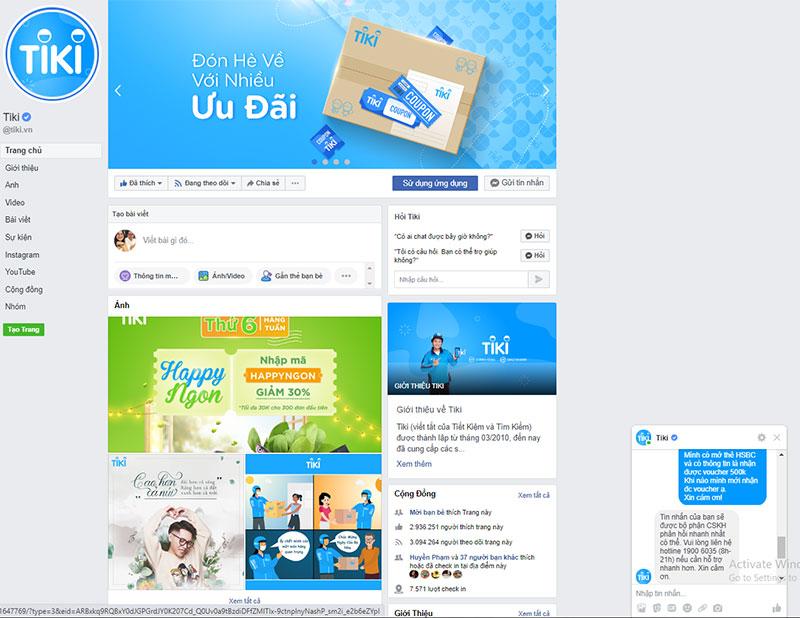 Chat trực tiếp với Facebook Tiki