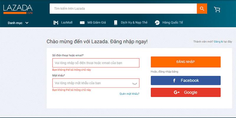 đăng nhập tài khoản lazada