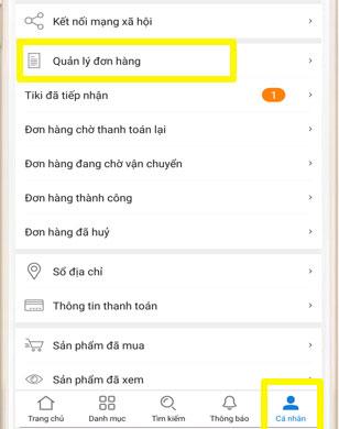 Quản lý đơn hàng Tiki App