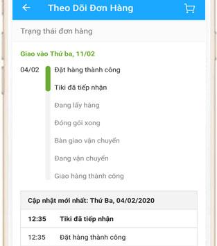 Theo dõi đơn hàng trên Tiki App