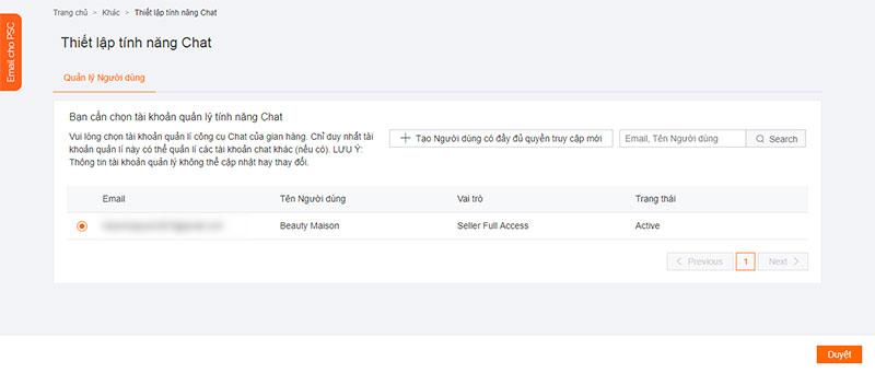 Thiết lập tính năng chat Lazada
